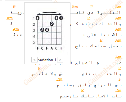Guitar chords diagrams showing within the song text